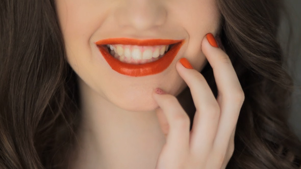 Smiling Lips Makeup Fashion Style Pose