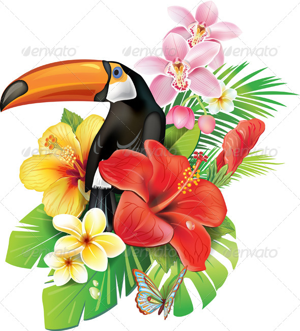 Cartoon Tropical Flowers And Toucan