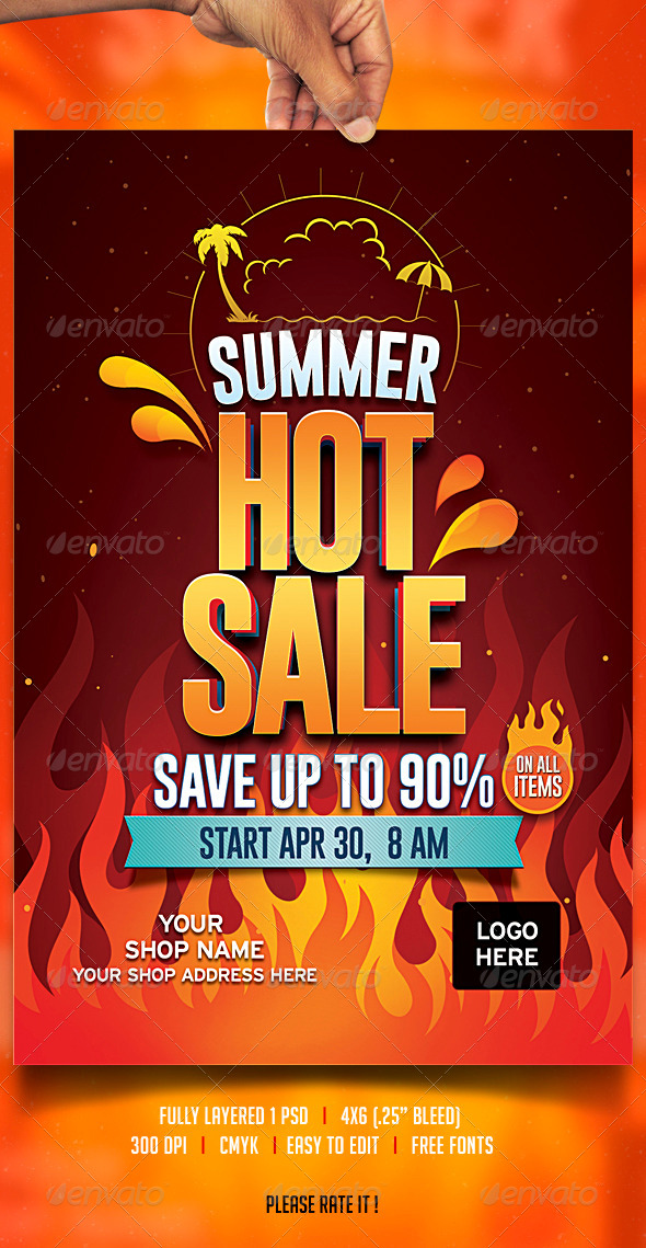 Summer Sale Flyer - Flyers Print Templates
