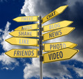 Social media concept with road signs on blue sky background - PhotoDune Item for Sale