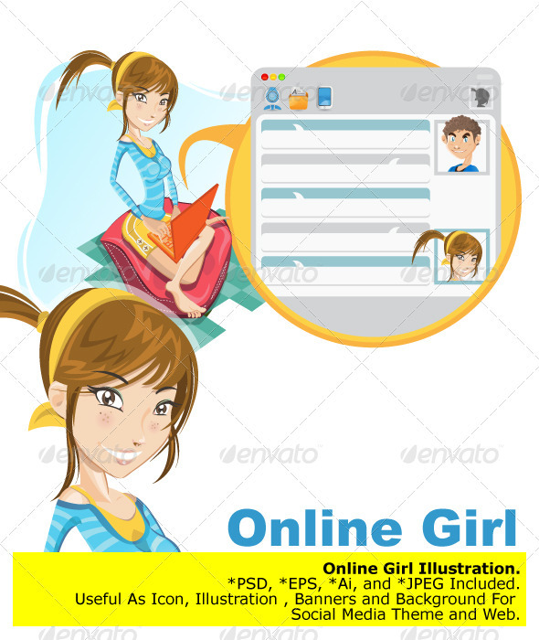Graphic River Online Social Media Girl Chatting Vectors -  Conceptual  Technology  Communications 760277
