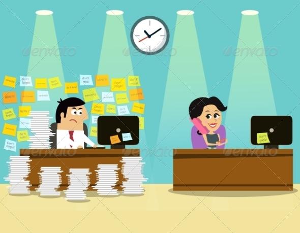 Business Life Man Girl Scene