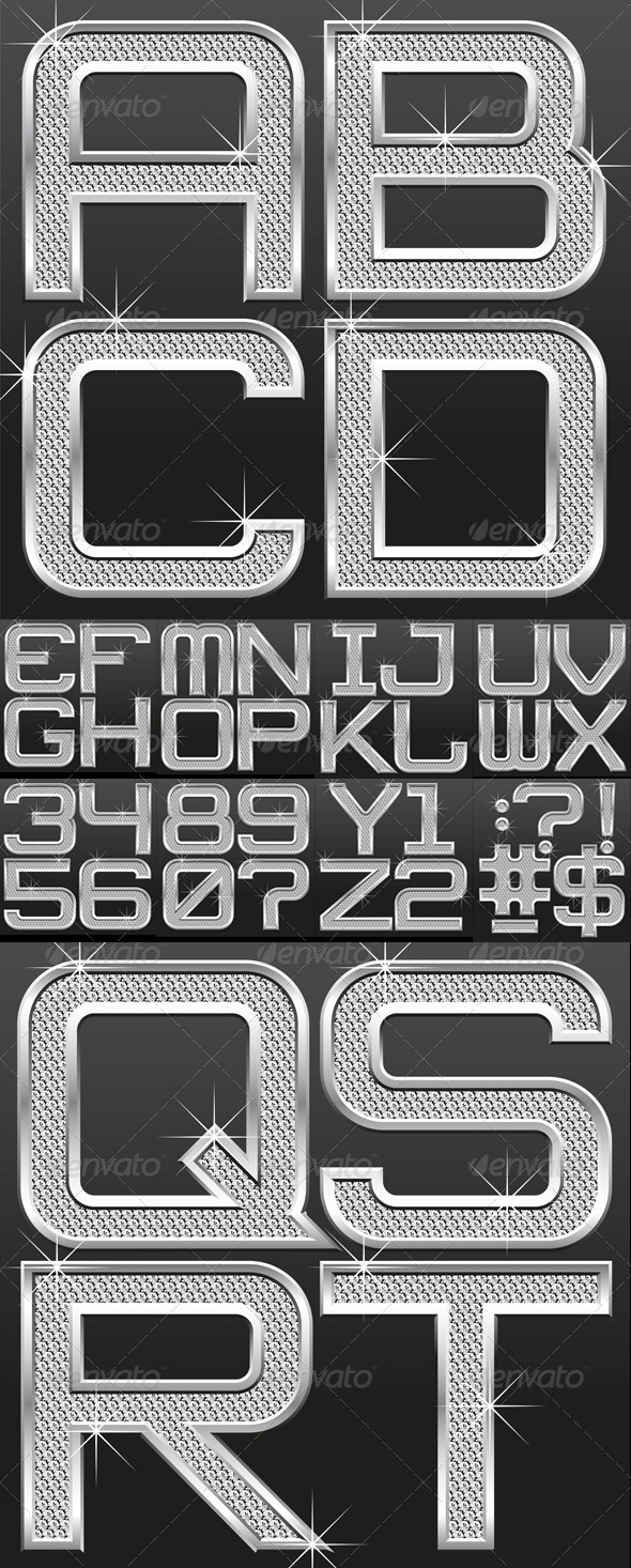 GraphicRiver Metallic Font With Diamonds 759773