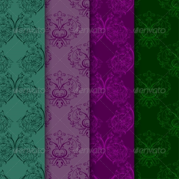 Set of Seamless Patterns with Damask Elements