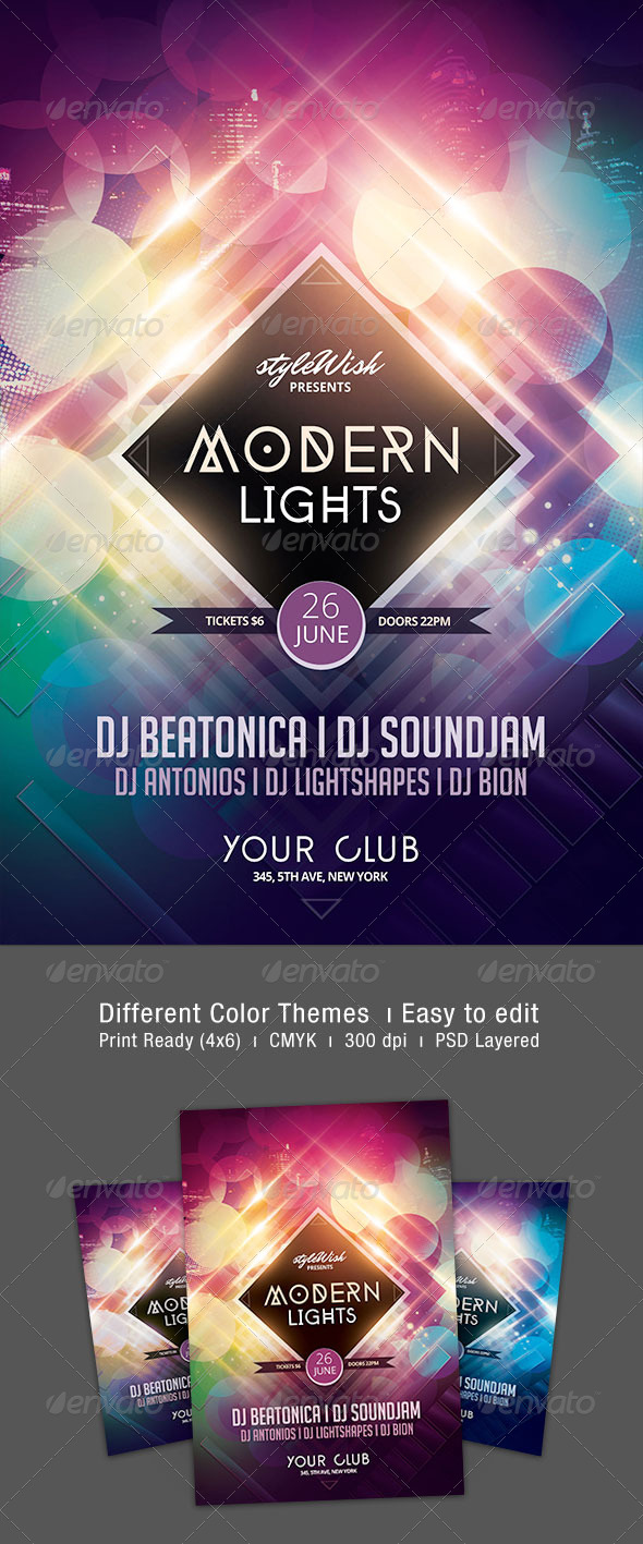 Modern Lights Flyer - Clubs & Parties Events