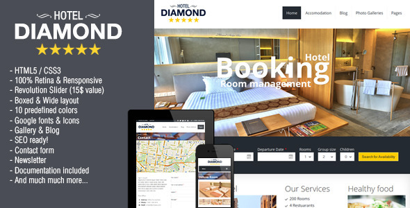 Hotel Diamond - Responsive Hotel Online Booking - Retail Site Templates