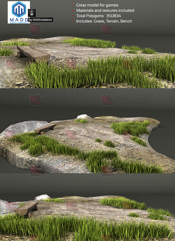 Grass / Weed Pack + Bench and Terrain - 3DOcean Item for Sale