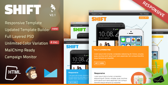 Shift Responsive Email Template - Email Templates Marketing