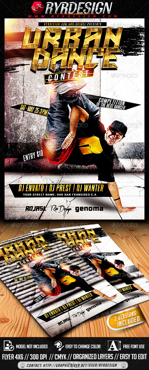Urban Dance Contest Flyer PSD - Clubs & Parties Events