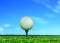 Golf Ball on Tee under Blue Sky