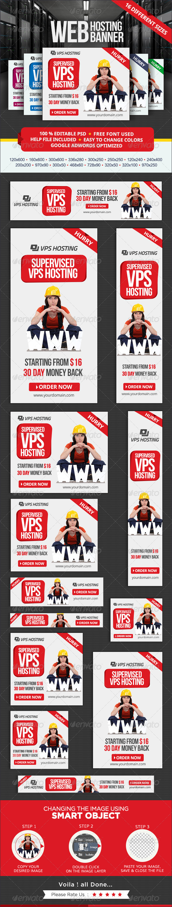 Web Hosting Banner set