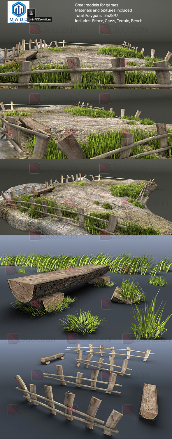Old Wood Fence and Grass Pack + Bench and Terrain - 3DOcean Item for Sale