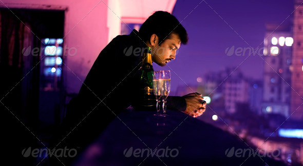 Stock Photo - PhotoDune Lonely Man With Champagne 753720