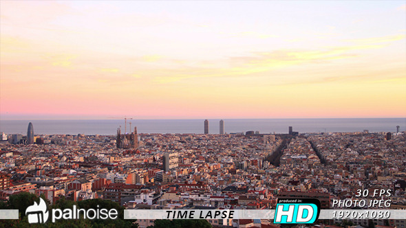 Barcelona Sunset Skyline