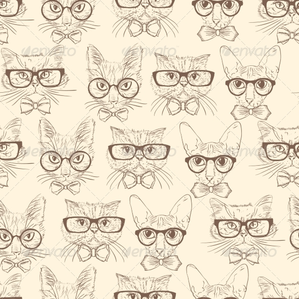 Cat Hipsters Seamless Pattern  Backgrounds Decorative
