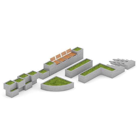 Park Concrete Elements Set - 3DOcean Item for Sale