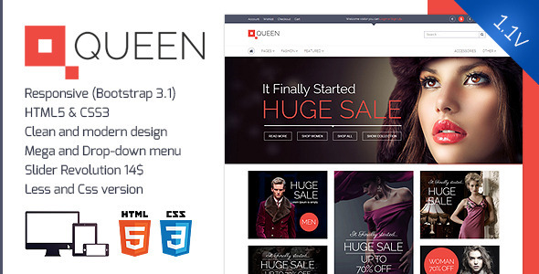 Queen - Responsive E-Commerce Template v 1.1 - Fashion Retail