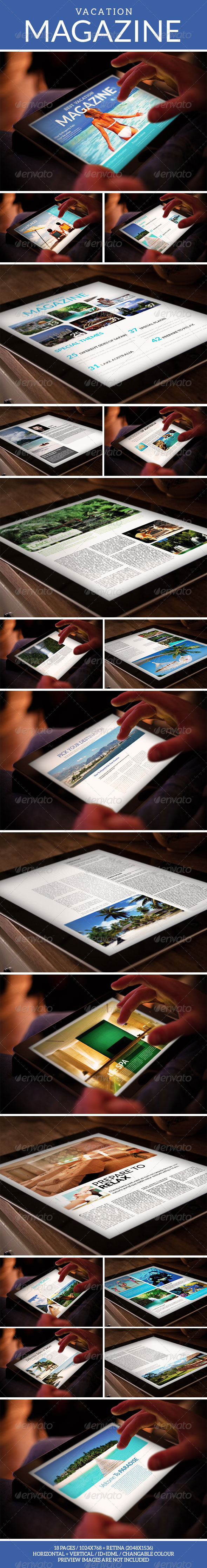 GraphicRiver Tablet Vacation Magazine Template 7347333