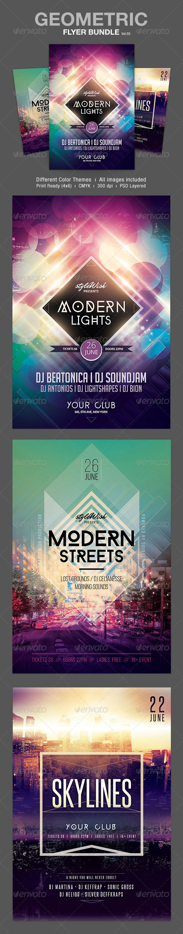Geometric Flyer Bundle Vol.03 - Clubs & Parties Events