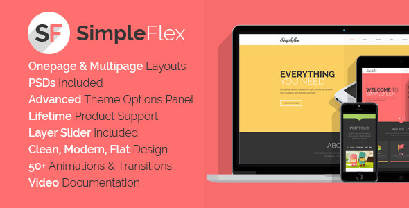SimpleFlex - Flat One Page WordPress Theme - Creative WordPress