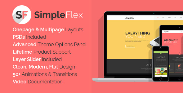 SimpleFlex - Flat One Page WordPress Theme