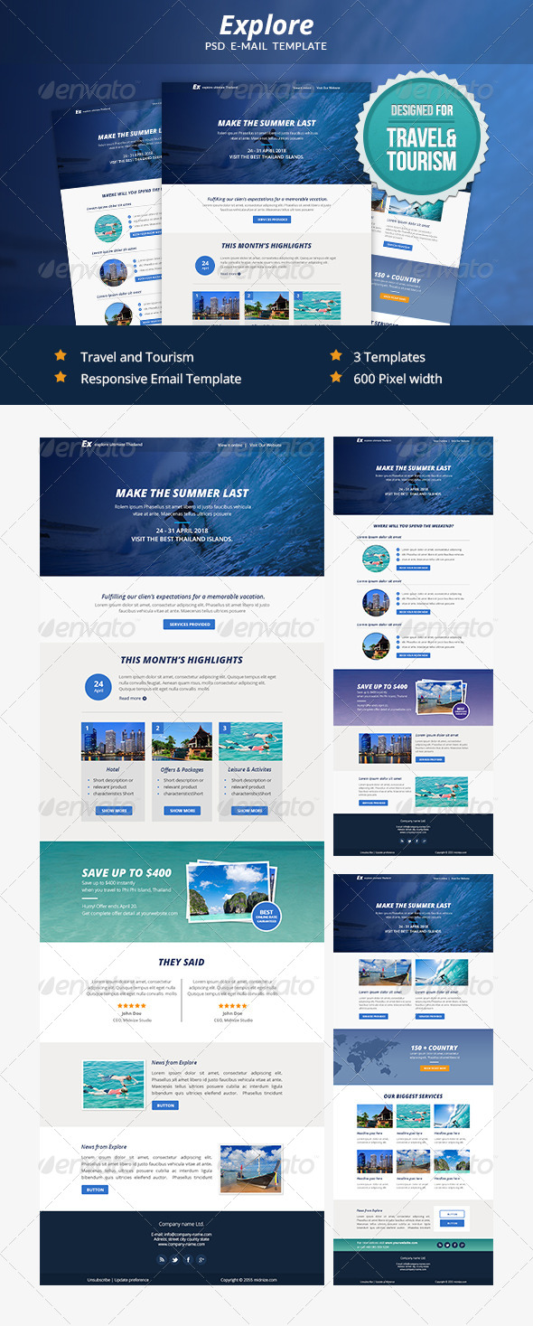 Explore - Travel PSD Email Newsletter Template - E-newsletters Web Elements
