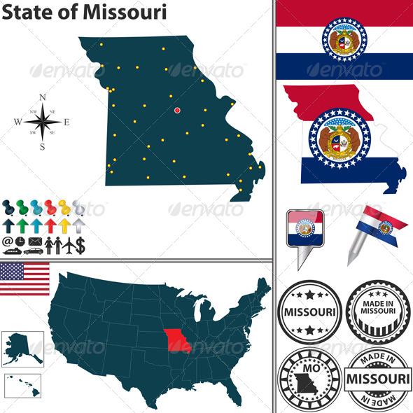 Map of state Missouri USA