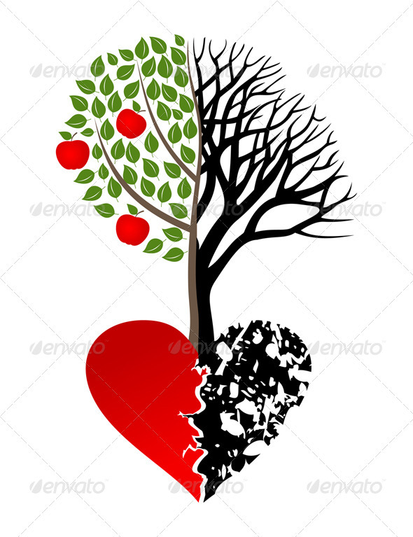 Graphic River Broken heart Vectors -  Conceptual  Nature  Flowers & Plants 761567