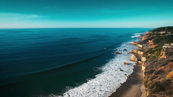 VideoHive Deserted Wild El Matador Beach Malibu California Aerial Ocean View Waves with Rocks 19000184