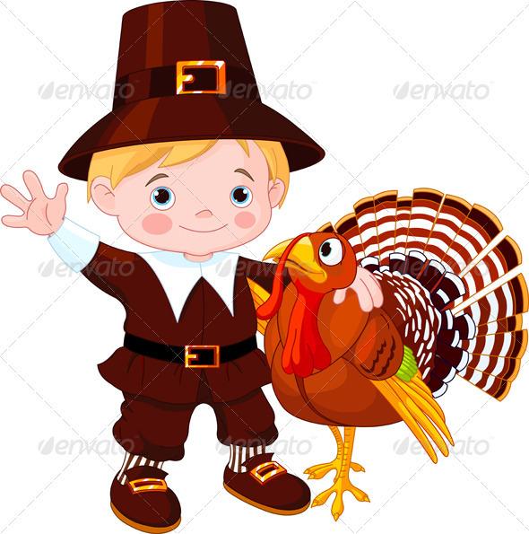 Cute pilgrim  and turkey