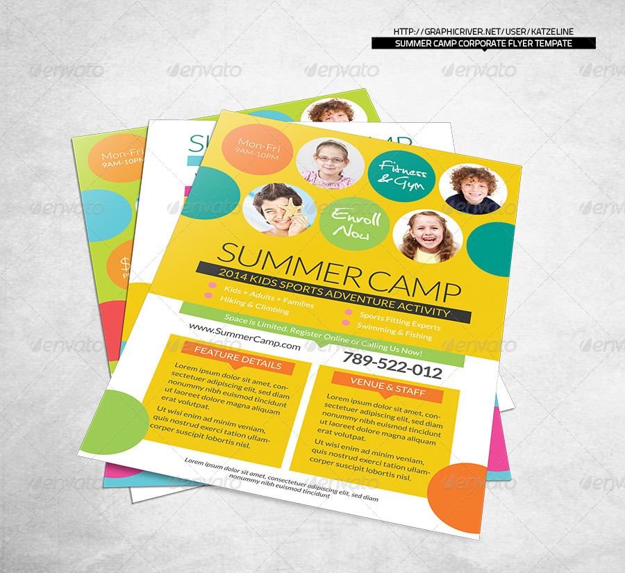 Fresh Summer Camp Fitness Club Flyer Template by katzeline – Summer Camp Flyer Template