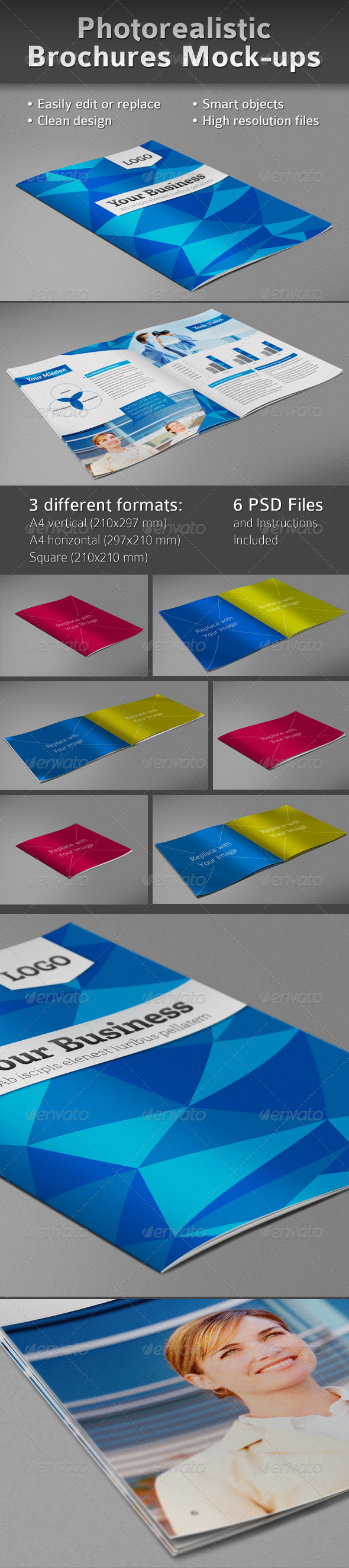 GraphicRiver Photorealistic Brochures Preview Mock-ups 761926