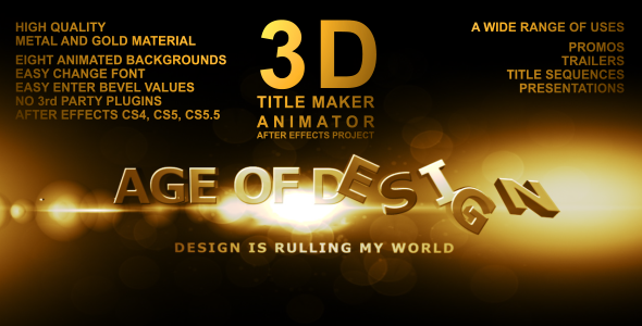 VideoHive After Effects Project - 3D Title Maker Animator 762177