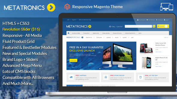 If you like our themes, please don't forget to rate it. This helps us a lot Template ID : MAG090167 Meta Tronics Magento Theme is specially designed for