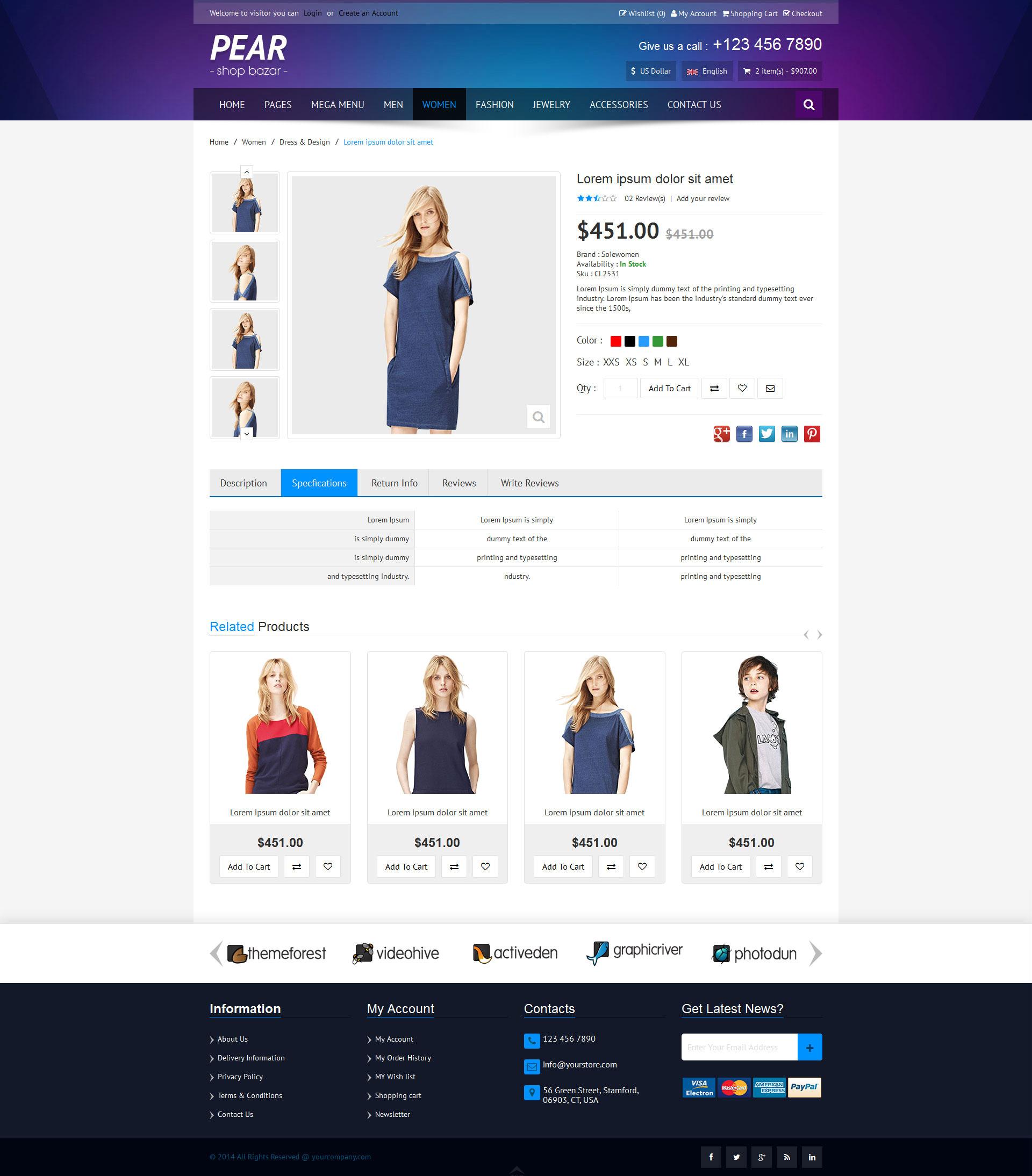 Pear - Responsive E-Commerce HTML Template V1.1