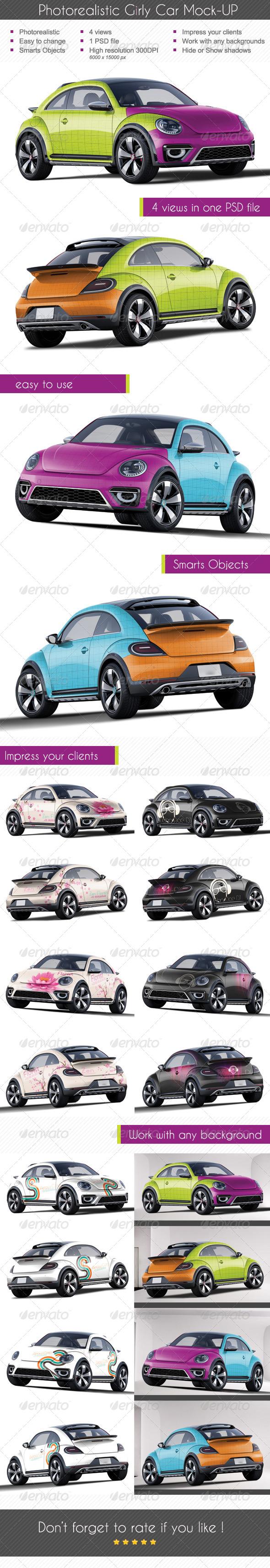 Photorealistic Girly Car Mock-up