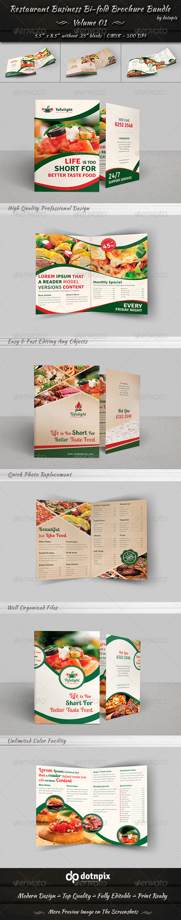 Restaurant Bi-fold Brochure Bundle Volume 1