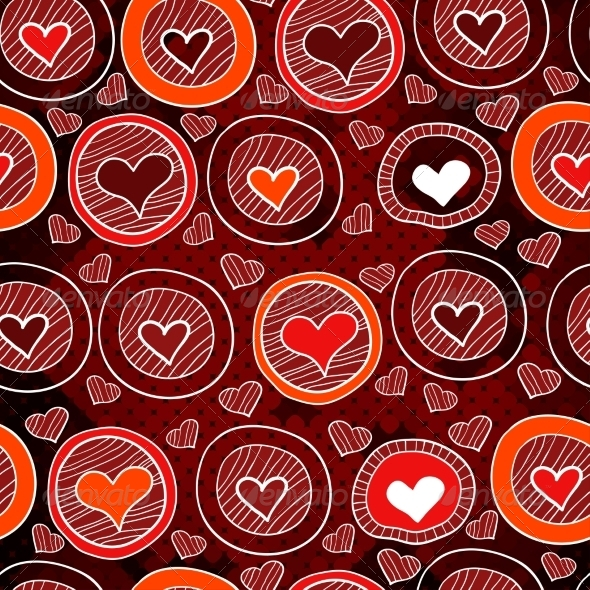 Red Pattern with Hearts in the Circles