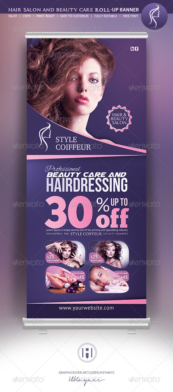 Hair Amp Beauty Rollup Banner Graphicriver