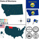 Map of State Montana, USA