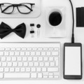 Closeup of business objects in order on white desk. - PhotoDune Item for Sale