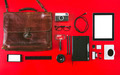 Different photography objects on red background. - PhotoDune Item for Sale