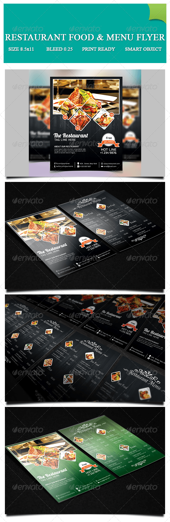 Restaurant Food & Menu Flyer