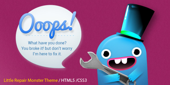 Little Repair Monster - Responsive 404 Template - 404 Pages Specialty Pages