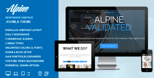 ThemeForest Alpine Responsive One Page Joomla Template 7368860