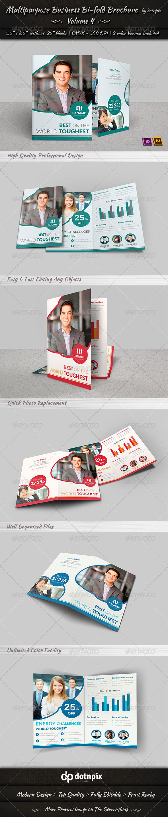 Multipurpose Business Bi-Fold Brochure Volume 4