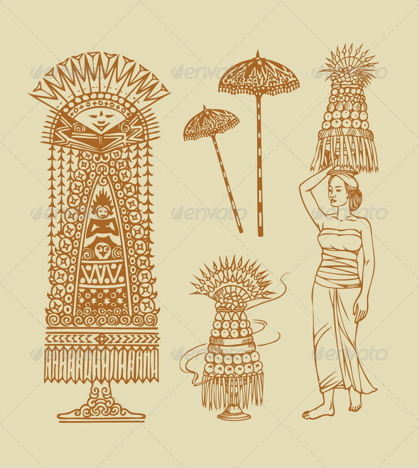 Hinduism Balinese Element Sketches - Man-made objects Objects