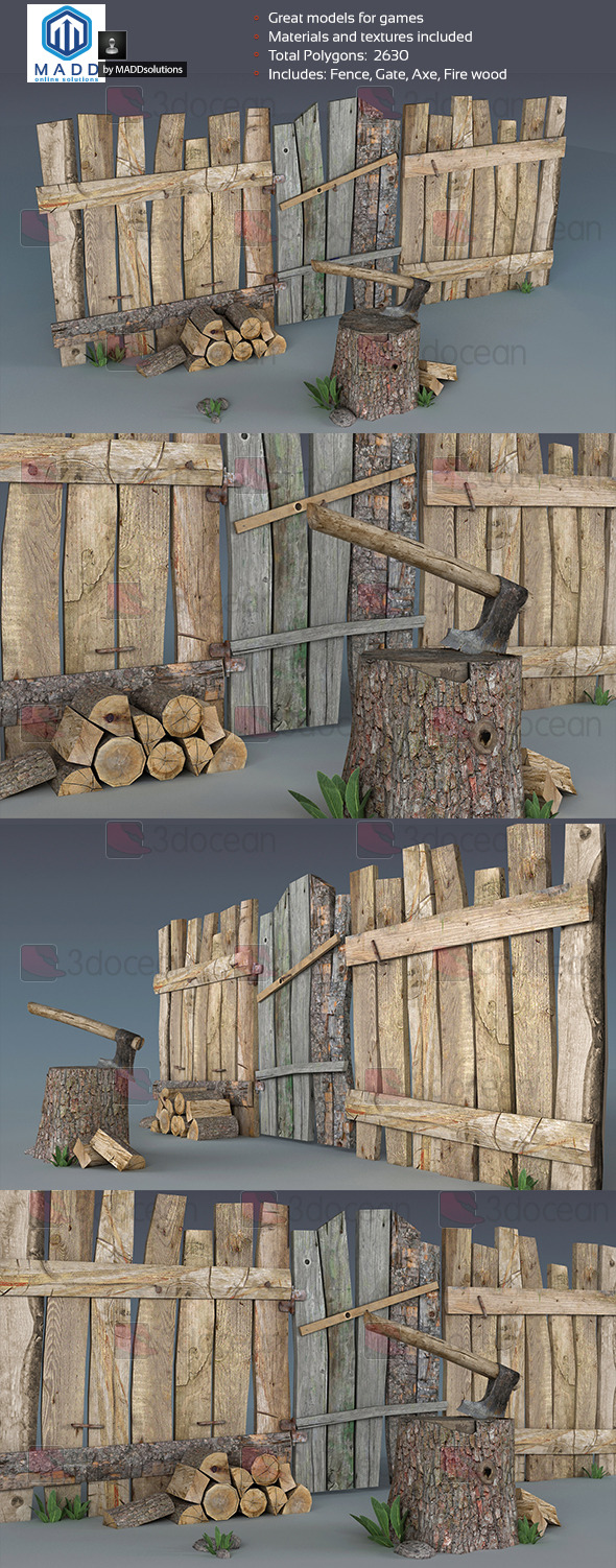 Wood Props Pack - 3DOcean Item for Sale