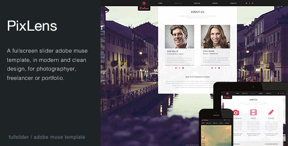PixLens - Photography Portfolio Muse Template - Creative Muse Templates