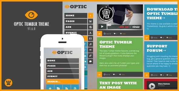 Optic - A Responsive Masonry Tumblr Theme
